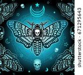 seamless color pattern  moth... | Shutterstock . vector #671295643