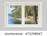 view of the lake and pine... | Shutterstock . vector #671298067