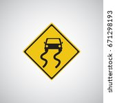 traffic sign. slippery road... | Shutterstock .eps vector #671298193