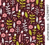 seamless floral background. ... | Shutterstock .eps vector #671298997