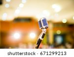 retro microphone.microphone on... | Shutterstock . vector #671299213