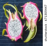 Two Dragon Fruit Halves On A...