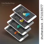 weather mobile app mockups with ... | Shutterstock .eps vector #671315077