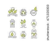 vector set of stevia labels ... | Shutterstock .eps vector #671320303