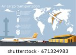 aviation poster with jet... | Shutterstock .eps vector #671324983