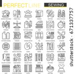 sewing equipment outline... | Shutterstock . vector #671337757