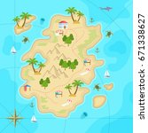 cartoon tropical island in... | Shutterstock . vector #671338627