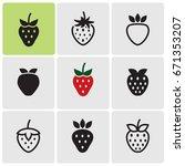 strawberries icons | Shutterstock .eps vector #671353207