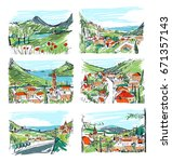 remarkable georgian landscapes...   Shutterstock .eps vector #671357143