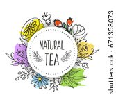 herbal tea seamless pattern. | Shutterstock . vector #671358073