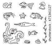 hand drawn vector set of icons  ... | Shutterstock .eps vector #671361127