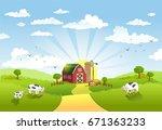 rural scene with the farm ... | Shutterstock .eps vector #671363233
