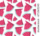 summer seamless pattern with... | Shutterstock .eps vector #671365243