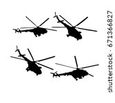 Helicopters Set. Vector