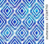 blue watercolor indigo color... | Shutterstock . vector #671369743