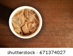iced chocolate drink on the...   Shutterstock . vector #671374027