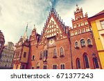 gothic town hall of wroclaw at... | Shutterstock . vector #671377243