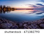 romantic and colorful lake... | Shutterstock . vector #671382793