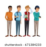 colorful set group of boy... | Shutterstock .eps vector #671384233