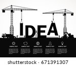 crane and idea building.... | Shutterstock .eps vector #671391307