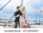 rear view of casual couple... | Shutterstock . vector #671393407
