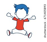 boy cartoon student in blue and ... | Shutterstock .eps vector #671405893