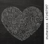 chalkboard vector hand drawn...   Shutterstock .eps vector #671407597