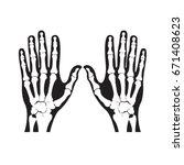 human hand bones in black color ... | Shutterstock .eps vector #671408623