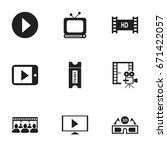 set of 9 editable cinema icons. ...