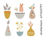 indoor plants in pots vector | Shutterstock .eps vector #671423797