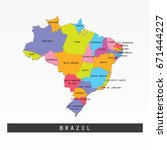 colorful map of brazil with... | Shutterstock .eps vector #671444227