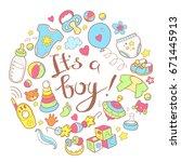 newborn infant themed cute...   Shutterstock .eps vector #671445913