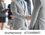 business people shaking hands ... | Shutterstock . vector #671448847