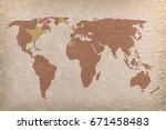 vintage world map with china... | Shutterstock . vector #671458483