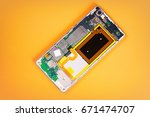 smartphone back cover removed ... | Shutterstock . vector #671474707