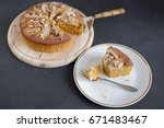 polenta cake with pears and... | Shutterstock . vector #671483467