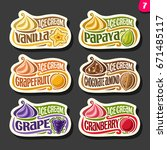vector set of fruit ice cream... | Shutterstock .eps vector #671485117