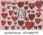 heart doodles | Shutterstock .eps vector #671486797