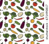 vegetables seamless background | Shutterstock .eps vector #671490817