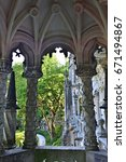 Small photo of Palace Quinta da Regaleira, Sintra Portugal. Palace with symbols related to alchemy Masonry the Knights Templar and the Rosicrucians shown at sunset. Masterpiece of Neo-Manueline architecture style