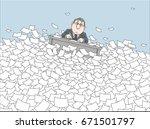 clerk drifting with his desk... | Shutterstock .eps vector #671501797