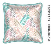 decorative throw pillow with... | Shutterstock .eps vector #671516083