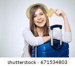 smiling woman holding credit... | Shutterstock . vector #671534803