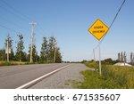 hidden driveway sign on rural... | Shutterstock . vector #671535607