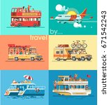 travel transport set. trip to... | Shutterstock .eps vector #671542243