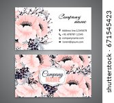 floral style business card... | Shutterstock .eps vector #671545423