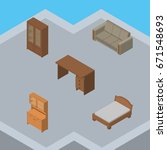 isometric furniture set of... | Shutterstock .eps vector #671548693