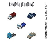 isometric automobile set of...