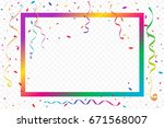 colorful party frame and... | Shutterstock .eps vector #671568007