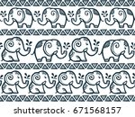 tiny cute hand drawn elephants... | Shutterstock . vector #671568157